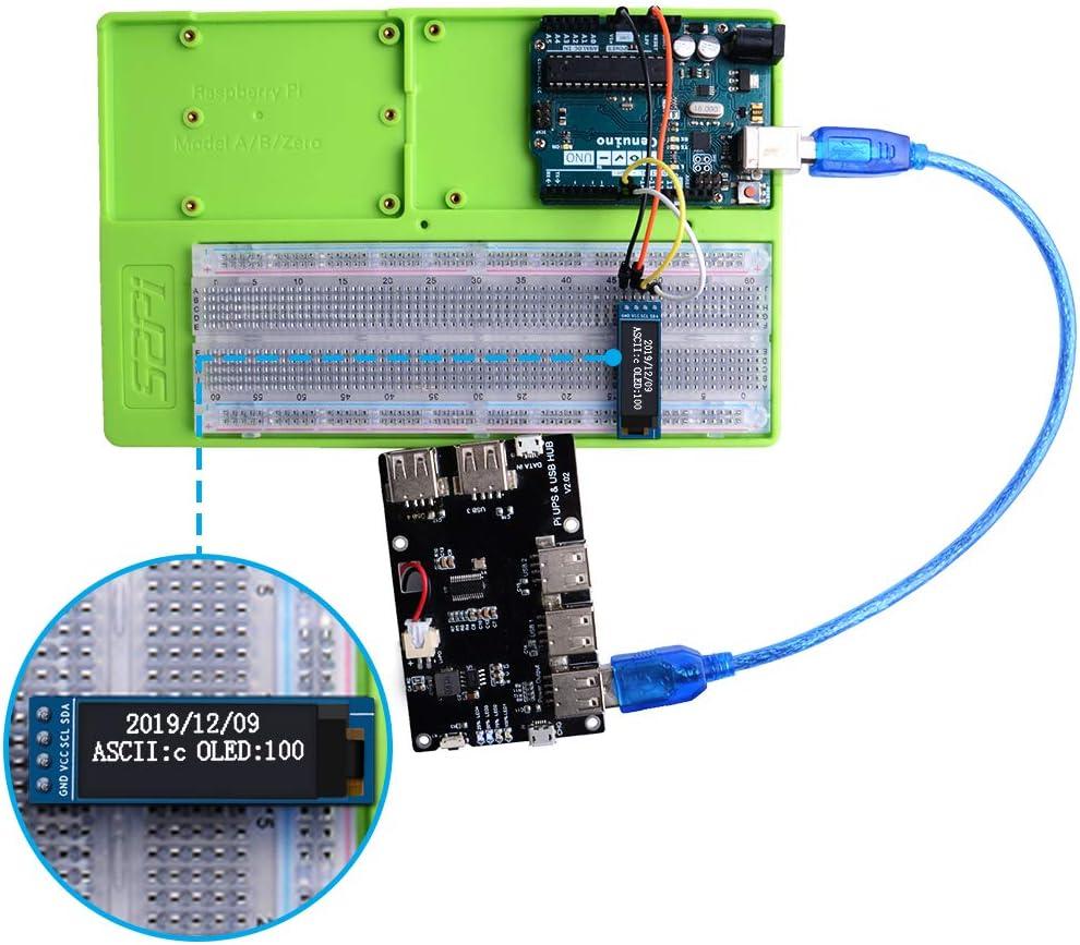 Raspberry Pi GeeekPi 2pcs IIC OLED Display Module 0.91 inch IIC SSD1306 OLED Display Module 128x32 Blanc IIC OLED Screen Driver DC 3.3V for Arduino Beagle Bone Black