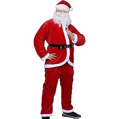 Amazon.com: Traje de Papá Noel para Hombre, Felpa Rojo ...