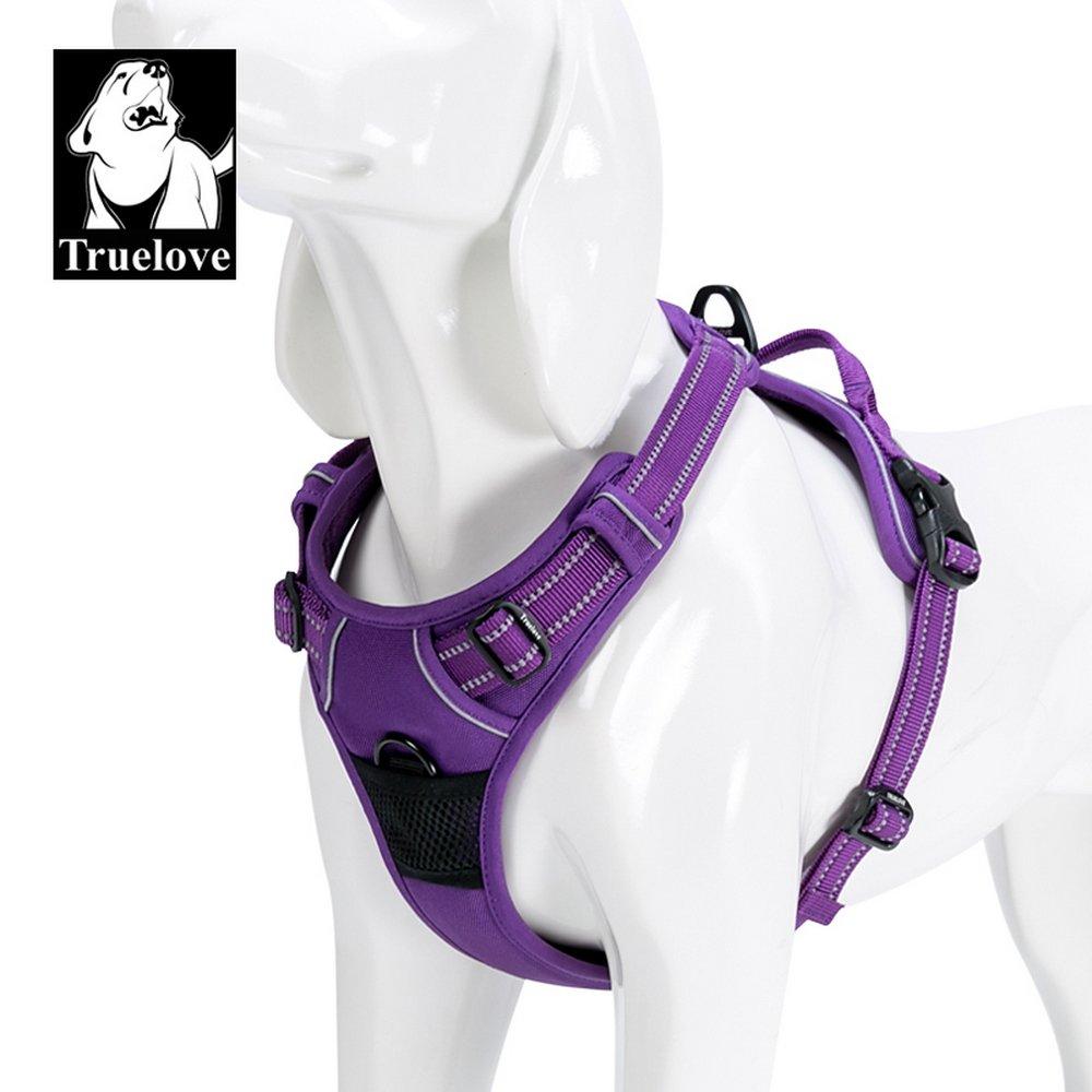 TRUE LOVE Adjustable No-Pull Dog Harness Reflective Pup Vest Harnesses Comfortable Control Brilliant Colors Truelove TLH5651(Purple,L)