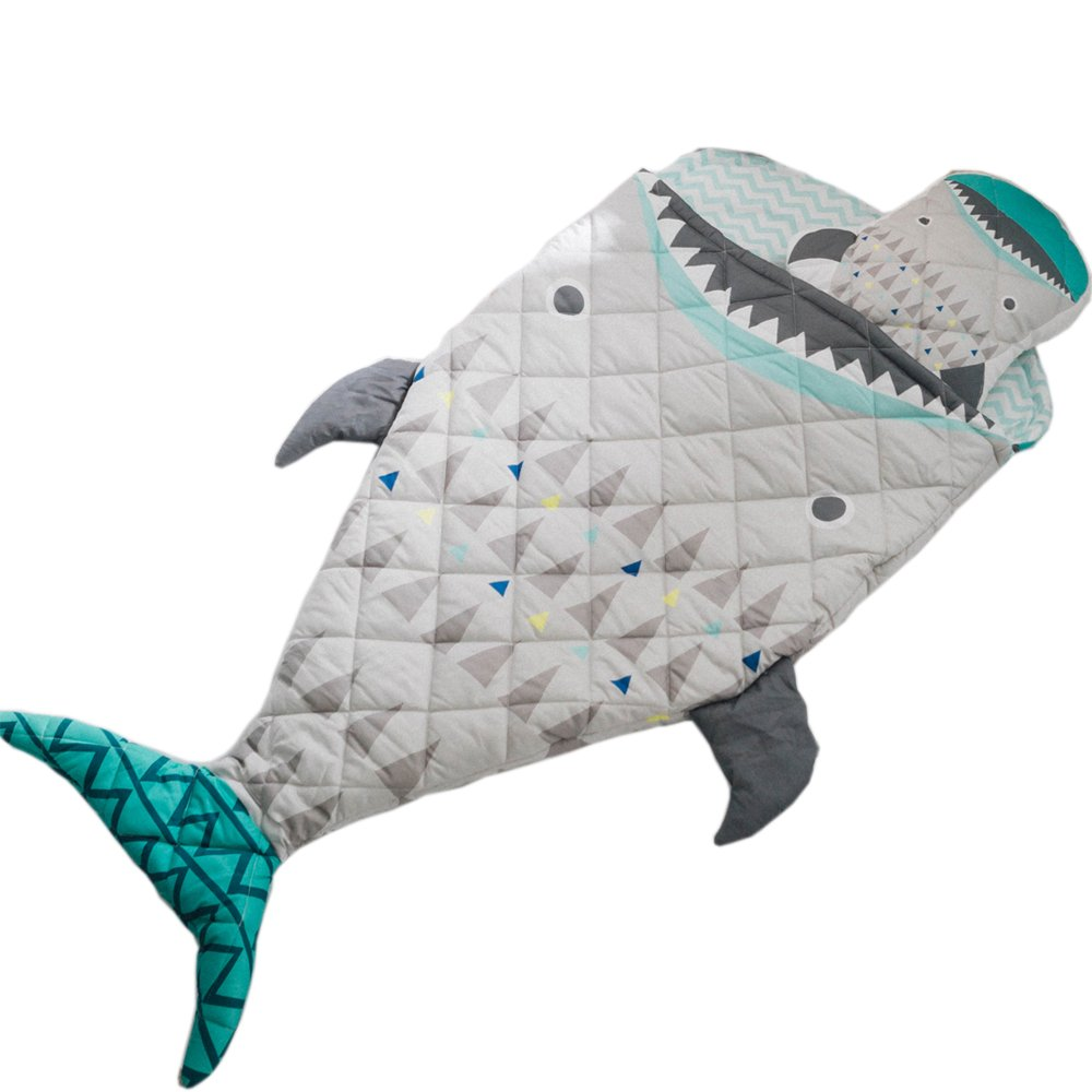 "PISSCO Kids 100% Cotton Shark Blanket, Soft and Warm Sleeping Bag for Boys and Girls, 59""X27"""