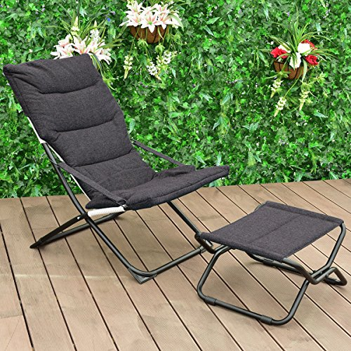 Folding Leisure Recliner Lounge Chaise Chair Indoor Outdoor Furniture w/Ottoman