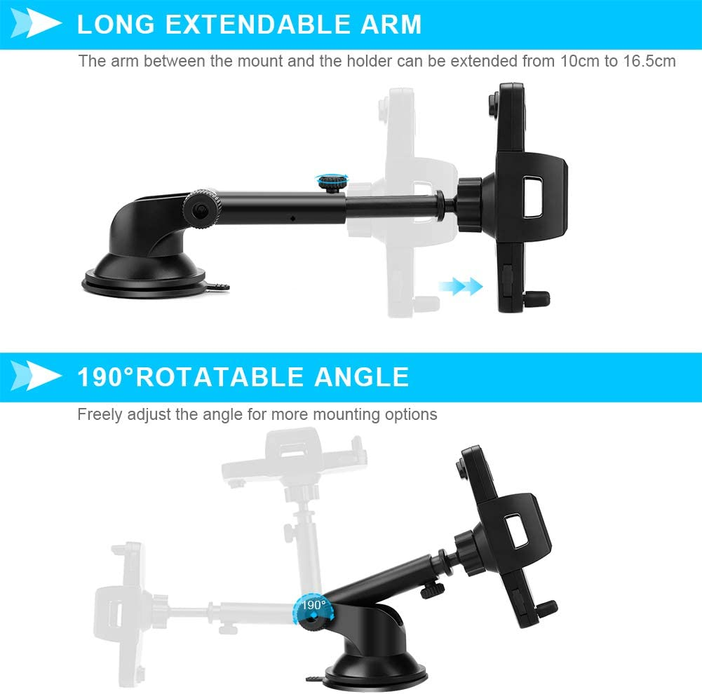 Galaxy S8 S9 XR X 8 Google More 8Plus 7Plus Dashboard Cell Phone Mount for Car Windshield with Adjustable Long Arm Strong Suction Cup Compatible with iPhone Xs S10 7 FoPcc Car Phone Holder