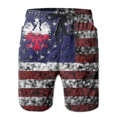 Tdhrv Whdyrl Polish American Flag Half Poland Vintage Men's Quick Dry Swim Trunks Casual Board Shorts With Pockets