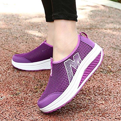 EnllerviiD Women Shape Up Mesh Walking Shoes Slip On Platform Fitness Toning Sneakers Rx3306 Purple Bcicphy9D8