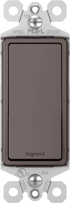 Legrand radiant 15 Amp Rocker Wall Switch, Decorator Light Switches, Brown, 3-Way, TM873CC10