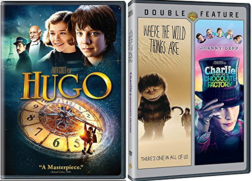 Hugo & Charlie & The Chocolate Factory + Where the Wild Things Are DVD Set Classic Family Fantasy Movie Bundle Double 2 Film Feature
