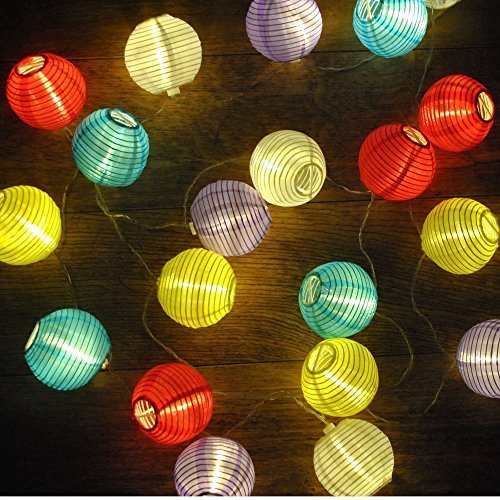 iLAZ-Solar-Lights-Garden-Outdoor-String-Lights-with-20LED-158ft-Fairy-Light-with-Fabric-Lantern-Ball-Christmas-Globle-Lights-for-Path-Party-DecorationMulticolor