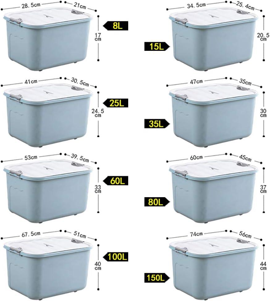 Caja de almacenamiento grande de plástico, moderna, simple, a prueba de polvo, a prueba de humedad, con tapas, ideal para el hogar, la escuela o la oficina, contenedor apilable, Material, Color, 100L: