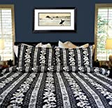 Hawaiian Quilt Comforter Set - Queen / Full ''Hana House'' Comforter with Two Std Size Shams