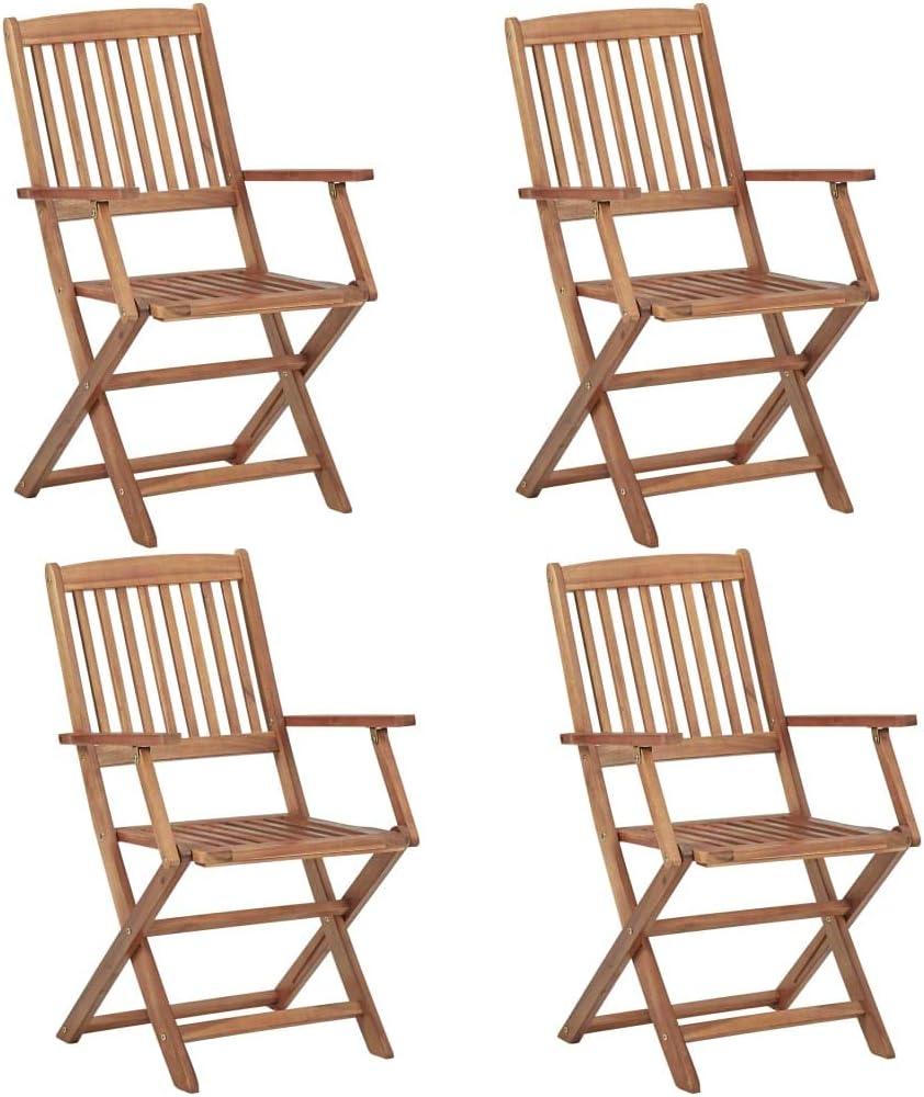 vidaXL Madera Maciza Acacia 4X Sillas de Jardín Plegables Mobiliario Terraza Elegantes Clásicas Modernas Prácticas Duraderas Resistentes Funcionales