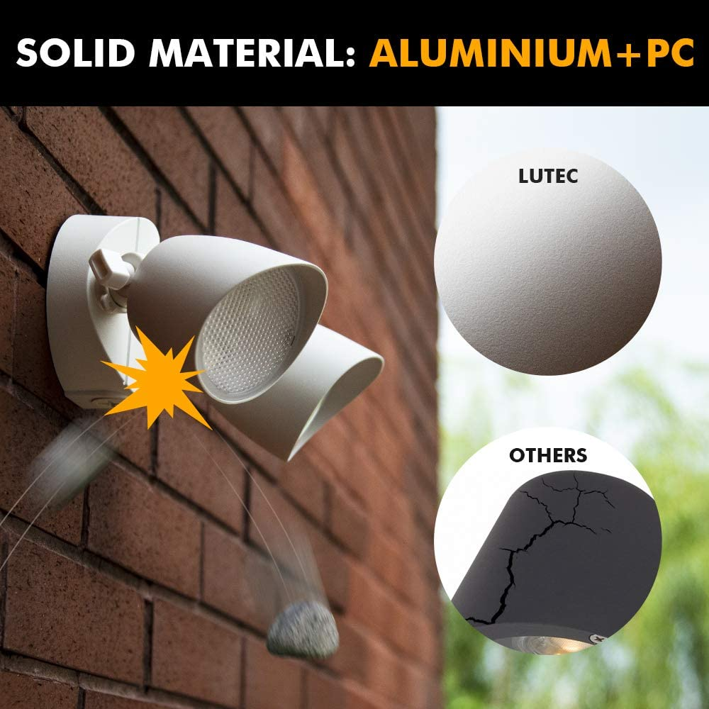 LUTEC 6222W 1380 Lumen 23 Watt 26 LED Dual-Head Floodlight Outdoor, Full Metal Design, Waterproof Exterior Security Wall Light for Patio, Garden, Yard-White - -