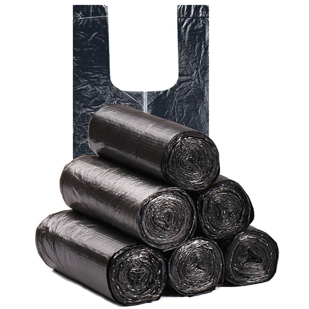 MORYSONG 6 Gallon Medium Trash Bags, Durable Multipurpose Everyday Use Trash Liners for Bathroom, Bedroom, Home, Office, Trash Cans and Garbage Bins (120 Counts/6rolls) (Black, One Size) by MORYSONG