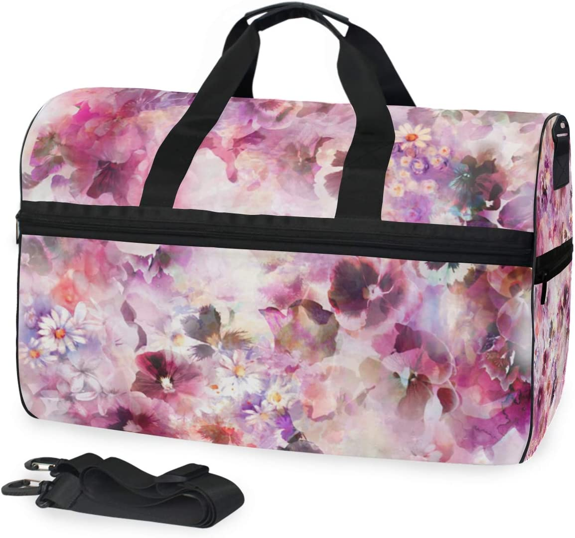 MUOOUM Art Flower Watercolor Print Large Duffle Bags Sports Gym Bag with Shoes Compartment for Men and Women