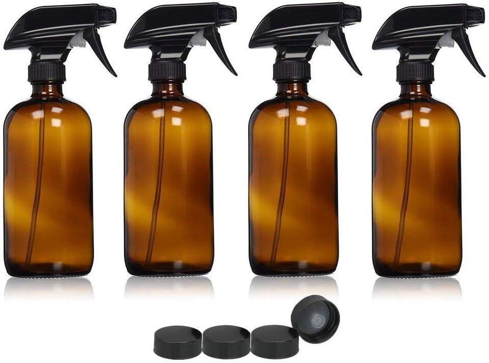 uyoyous - Botellas de Cristal ámbar (4 Unidades, 500 ml, con pulverizador, Tapas de Sellado para aceites Esenciales, aromaterapia)
