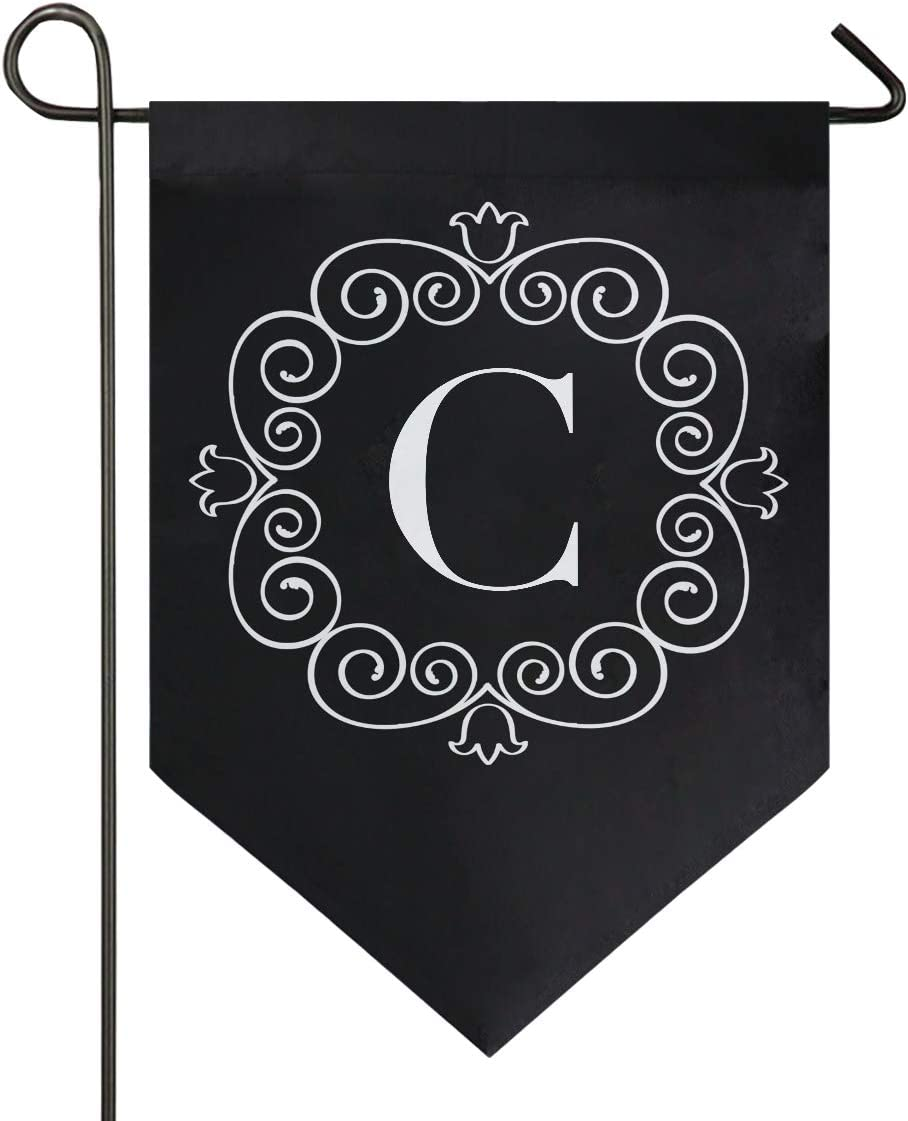Oarencol Classic Monogram C Letter Garden Flag Double Sided Home Yard Decor Banner Outdoor 12.5 x 18 Inch