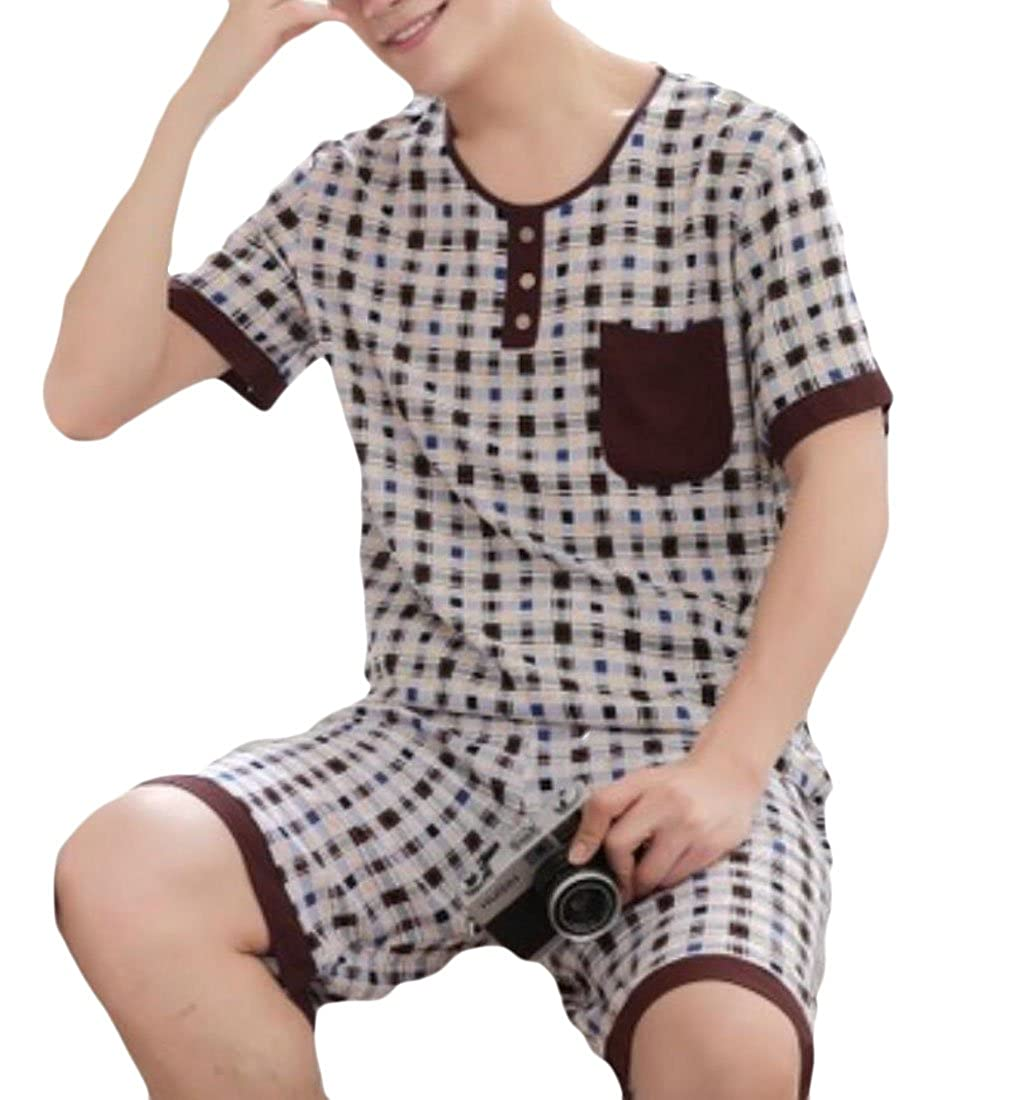 S-Fly Mens Stylish Short Sleeve Pocket Two Pieces Print Nightwear Pajama Sets
