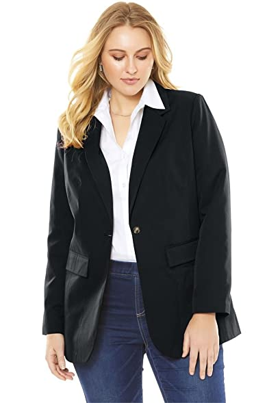 Roamans Women's Plus Size Boyfriend Blazer at Amazon Women's ...