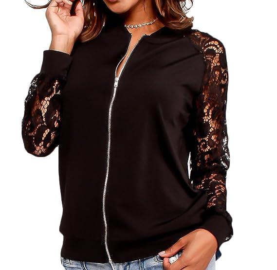 209bc4c5df2 MMCP-Women Floral Lace Zip Up Lightweight Zipper Bomber Jacket Coat Black S