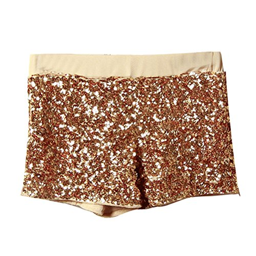 Zhhlaixing Gran venta Nightclub Casual Womens Pack Hip Sequins Shorts Pants Hotpants Beach Slim Shorts Multicolor Gold