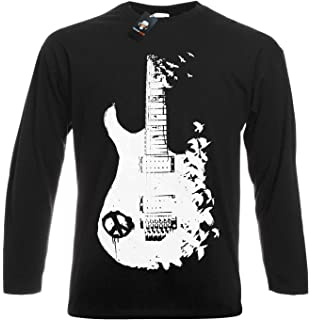 e10536d04418 Band Guitar T Shirt Banksy Metal Peace Music Crow Goth Tattoo Tee ...