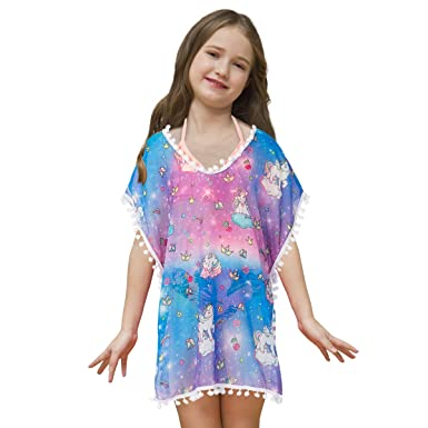 b39591c0466a Amazon.com: Sylfairy Unicorn Cover Up for Girls Rainbow Swimwear Coverups  Swimsuit Beach Dress Top with Pompom Tassel: Clothing