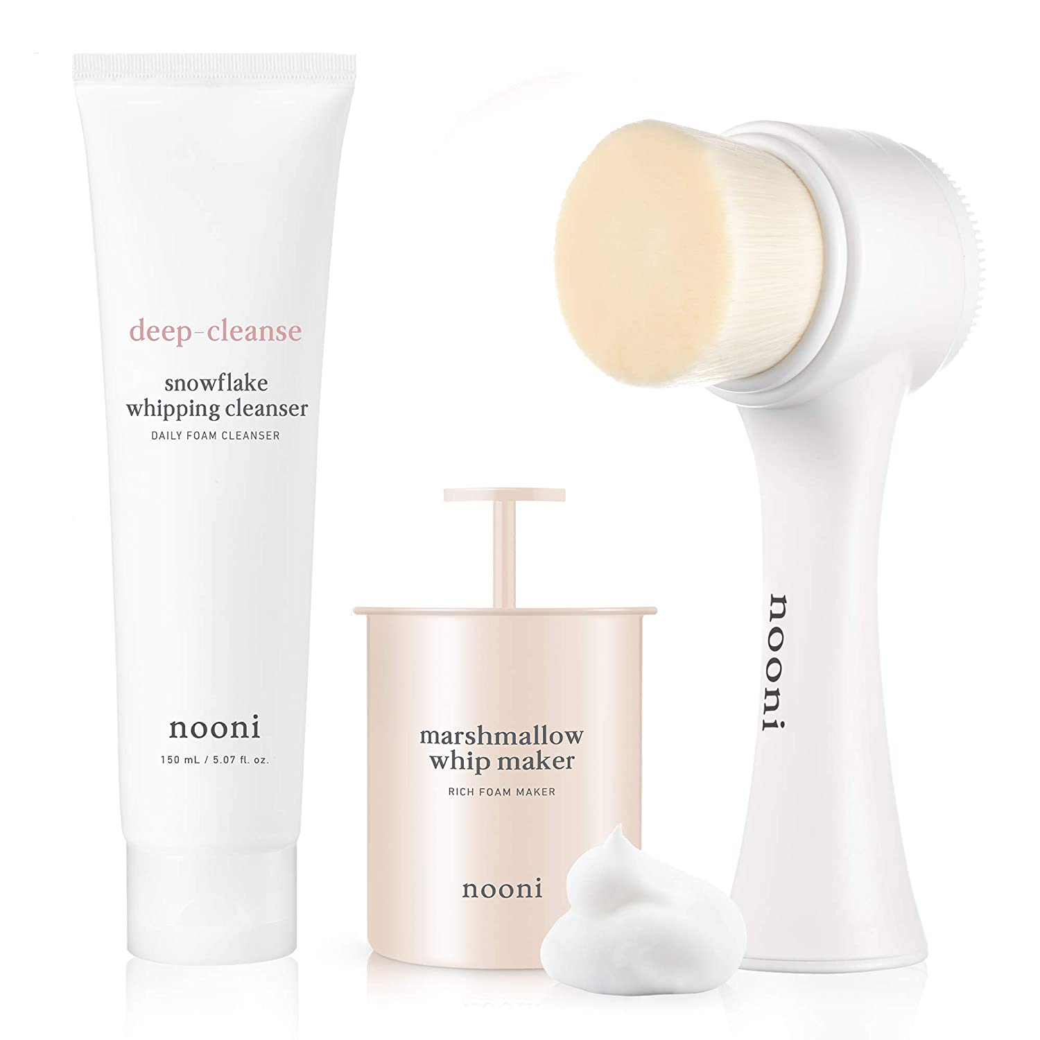 NOONI Marshmallow Whip Maker + Pore Cleansing Dual Brush + Snowflake Whipping Cleanser Bundle