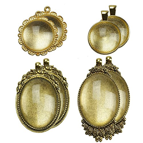 - 4 Counts Gold Oval Bezels Pendant Trays and 4 Counts Round Pendant Trays with 8 Counts Glass Blanks Round Cabochon Dome Tiles for Jewelry Making, 16 Counts by SHXSTORE