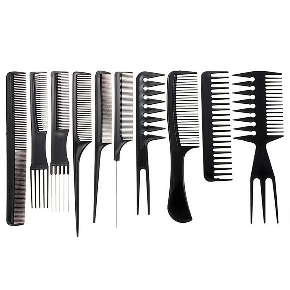 10 PCS Black Anti-static Hair Combs Set Plastic Cosmetic Hair Tool Home Salon Dresser Styling Barbers Set Elisona
