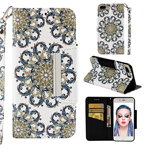 us/8 Plus,3D Printing PU Leather [Kickstand] Wallet Case Card Holder Inner TPU Bumper with Magnetic Closure & Wrist Strap Compatible with Apple iPhone 7 Plus/8 Plus -Sun Flower ()