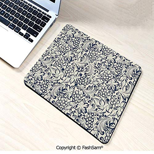 Desk Mat Mouse Pad Vintage Style Grapes Vineyard Orchads Pattern Invitation Card Design Retro Image Sketch for Office(W9.85xL11.8)]()