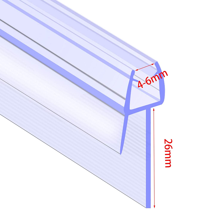 Bath Shower Screen Door Seal Strip | Glass Thickness 4mm - 6mm | Seals Gap 26mm Vanimeu