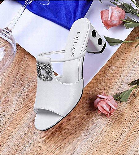 Femeninas de Meta Femeninas con Zapatillas Tendencia Zapatos Adulto T de Sandalias Sandalias Romano de Estilo Imitación Imitación Diamantes Gruesa Boca Femeninas Pescado Tipo Diamantes Palabra una con wYqFIdq