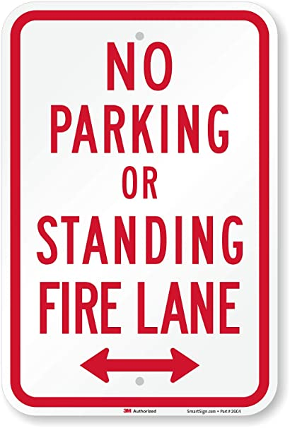 Amazon.com: No Parking o de pie, Fire Lane (con flecha ...