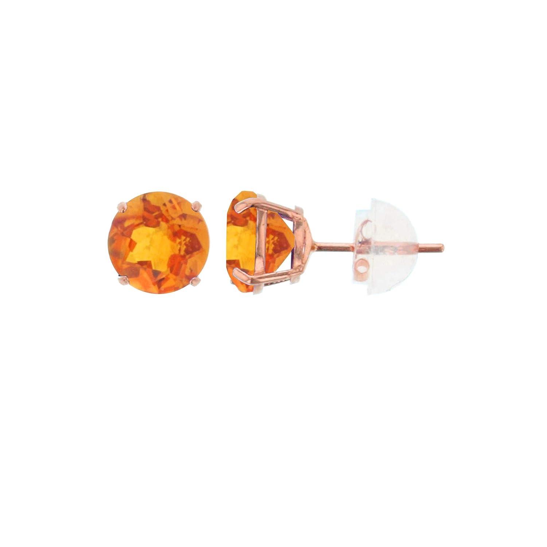 10K Rose Gold 6mm Round Gemstone Stud Earring Decadence TSK4645R6R-6