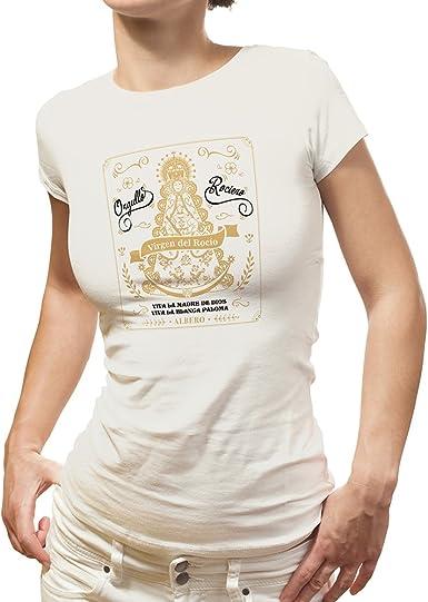 ALBERO - EDIPUBLI Camiseta Virgen del Rocio ALMONTE España Orgullo ROCIERO Mujer: Amazon.es: Ropa y accesorios