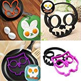 Edealing Set Silicone Egg Mold Ring, Purple Owl Rabbit Shaped Egg Ring & Black Skull Shaped Egg Ring Set of 3