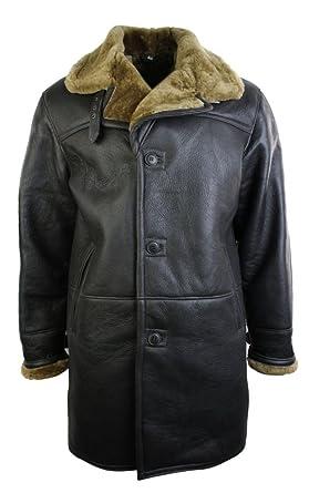 Veste Trench Homme Peau de Mouton retournée Longueur 3 4 Marron Beige   Amazon.fr  Vêtements et accessoires dce92dbed3d