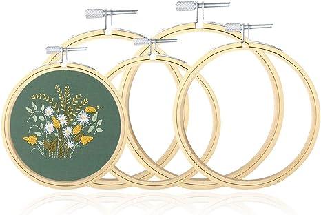 SJHFG Runde Stickrahmen Bambus-Kreis-Kreuz-Stich-Band-Ring-Rahmen DIY Fertigkeit-Kunst N/ähen Hocker Startseite Handgefertigte