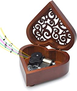 Wooden Music Box You are My Sunshine, Heart-Shaped Wind Up Clockwork Mechanism Musical Gifts for Kids (A)