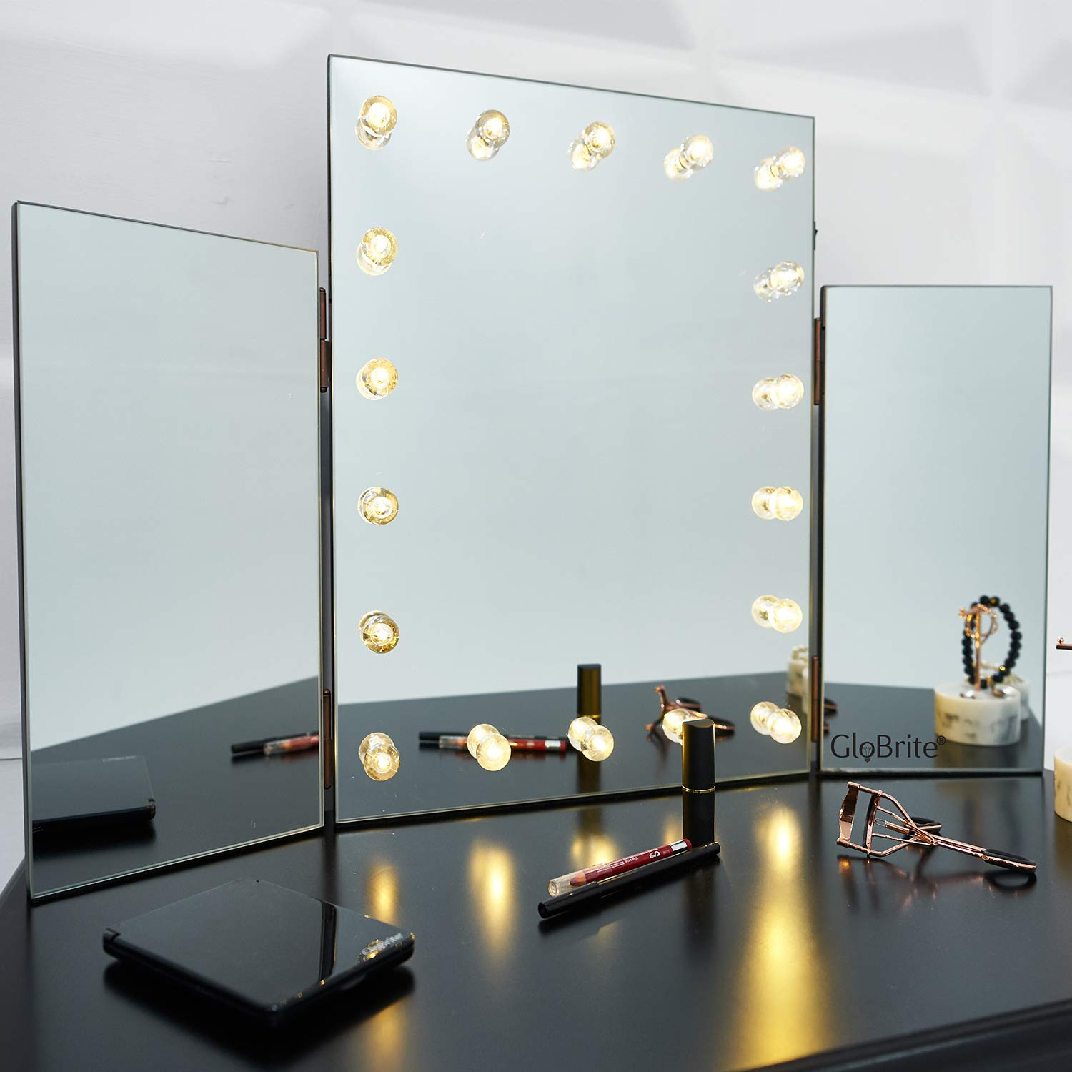 GloBrite LED Light Up Glass Hollywood Glamour Dressing Table Cosmetic Vanity Tri Mirror - Bright Lights/Great for Doing Make Up (Medium)