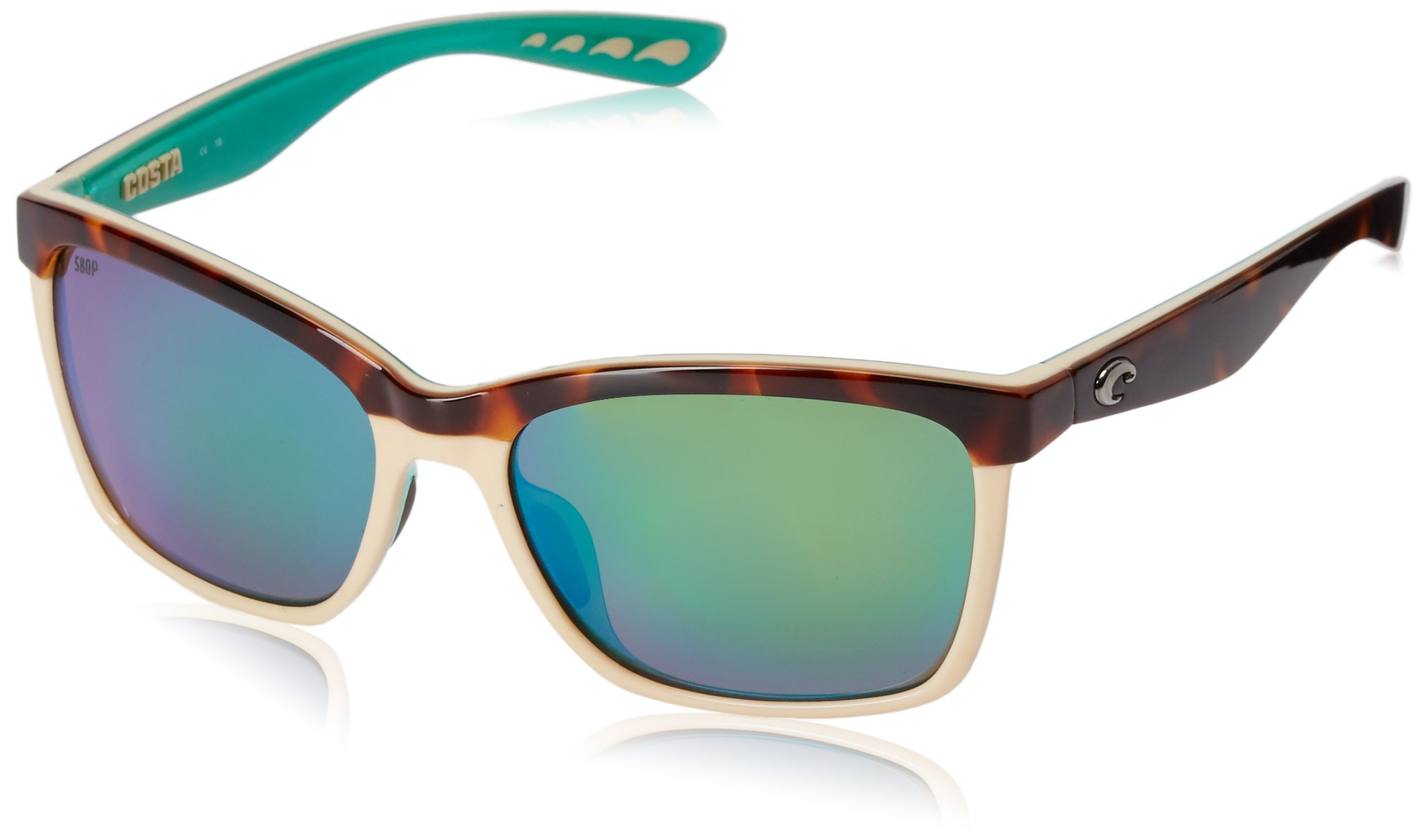 Costa Del Mar Anaa Sunglasses Retro Tort/Cream/Mint/Green Mirror 580Plastic by Costa Del Mar