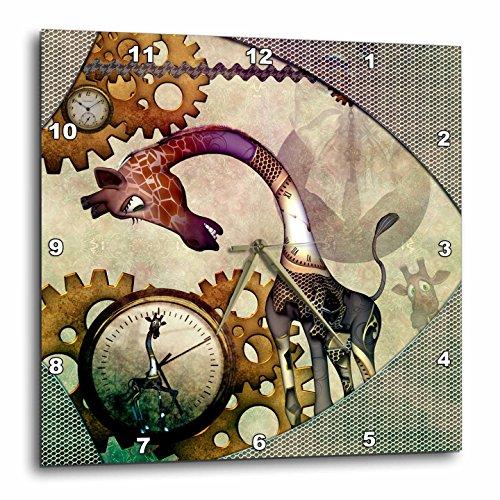 3dRose Heike Köhnen Design Steampunk – Steampunk, Cute Steampunk Giraffe, Clocks and Gears – Wall Clocks