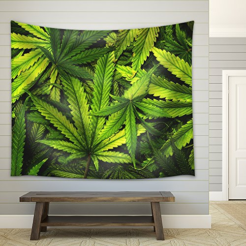 Cannabis Texture Marijuana Leaf Pile Background with Flat Vintage Style - Fabric Wall Tapestry Home