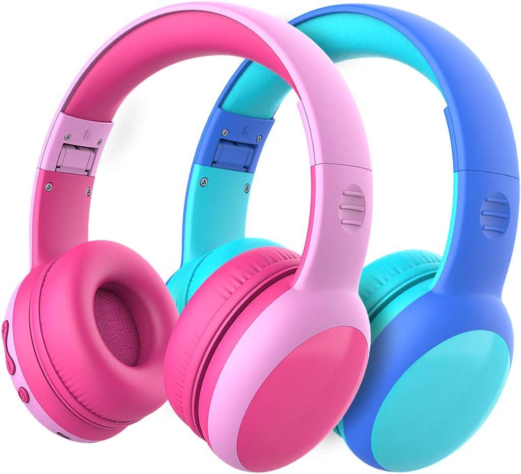 Auriculares Bluetooth para niños, Auriculares Plegable para niños con 85dB Volumen Limitado, Auriculares Ajustable y Plegable con micrófono, niñas y niños - 2 Paquetes