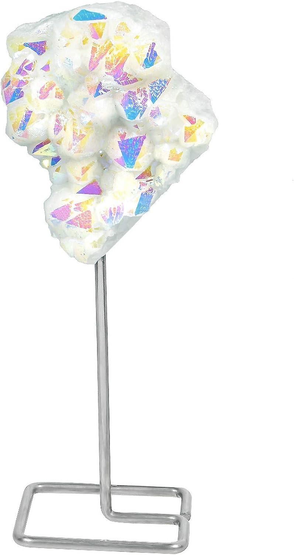 Amogeeli Titanium Coated Rock Crystal Home Decor on Metal Stand, Angel Aura Quartz Cluster Specimen