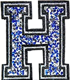 3' (A-Z) Blue Crystal English Letter Character Alphabet Rhinestone Shiny Patch Iron on Embroidered Craft Handmade Baby Kid Girl Women Sexy Lady DIY Accessories Costume (H (2.5'wide x 3'tall))