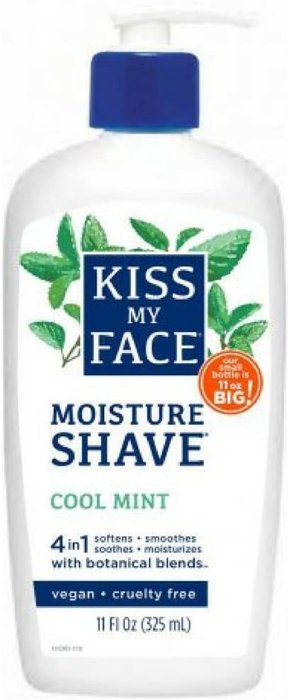 Kiss My Face 4-in-1 Moisture Shave, Cool Mint 11 oz ( Pack of 2)