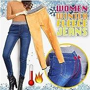 ZOOARTS Womens Winter Jeans High Waist Skinny Pants Fleece Lined Elastic Waist Jeggings