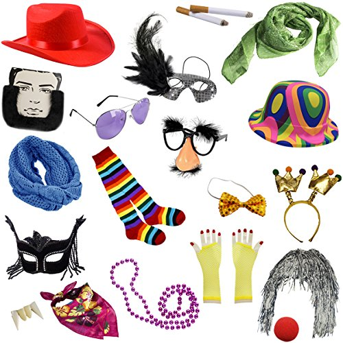 Photo Booth Props - Photo Booths for Parties - 18 Pc. Assorted Photo Booth Kit by Funny Party - Sunglasses Photo