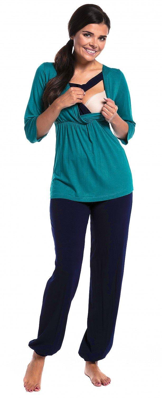 Zeta Ville - Womens maternity breastfeeding layered pyjamas pregnancy - 060c nursing_pyjama_060